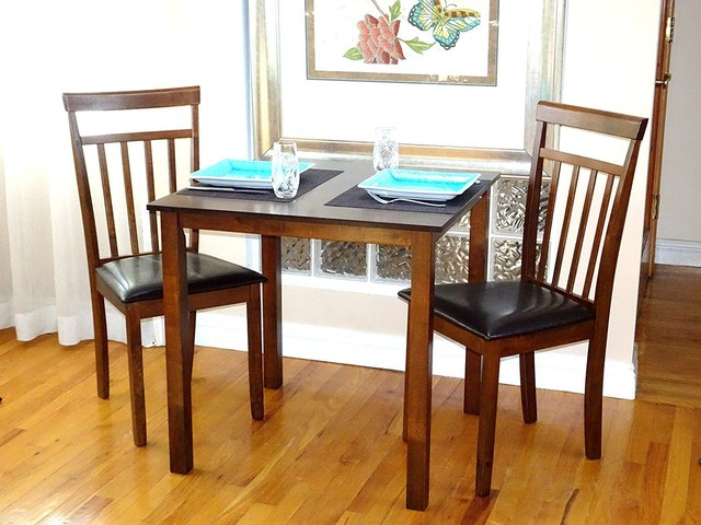 Set Of 3 Pcs Square Dining Kitchen Table And 2 Wooden Warm Chairs, Dark Walnut Within Current Transitional Antique Walnut Square Casual Dining Tables (View 17 of 20)