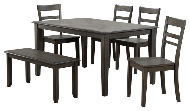 Shades Of Gray 6 Piece Dining Set Intended For Preferred Atwood Transitional Square Dining Tables (View 19 of 21)
