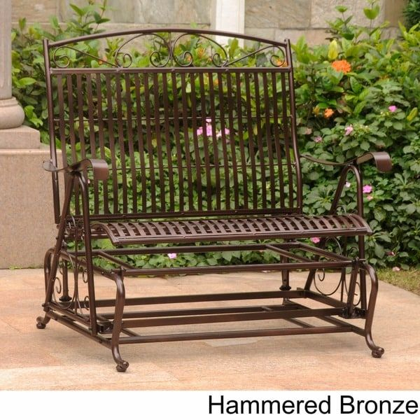 Shop International Caravan Mandalay Iron Double Glider Bench Within Iron Double Patio Glider Benches (View 20 of 20)