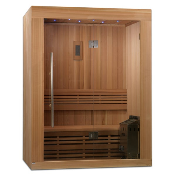 Shop Sundsvall 2 3 Person Traditional Steam Sauna, Natural In 3 Person Natural Cedar Wood Outdoor Swings (#18 of 20)