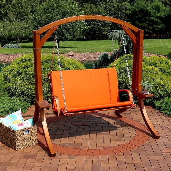 Shop Sunnydaze Deluxe 2 Person Outdoor Wooden Patio Swing Regarding 2 Person Light Teak Oil Wood Outdoor Swings (View 15 of 20)