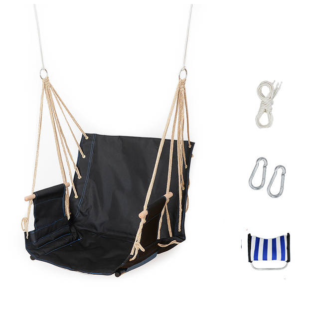 Single Garden Balcony Porch School Dormitory Cotton Rope Oxford Swing Chair Leisure Hammock Outdoor Portable Assembly Swings Intended For Cotton Porch Swings (View 6 of 20)