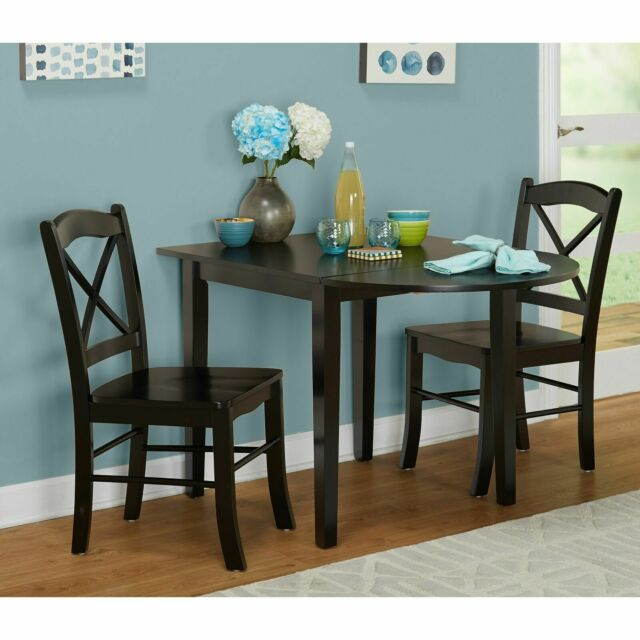 Small Black 3 Piece Country Cottage Dining Set Dinette Drop Leaf Table  Chairs For Current 3 Pieces Dining Tables And Chair Set (View 18 of 21)