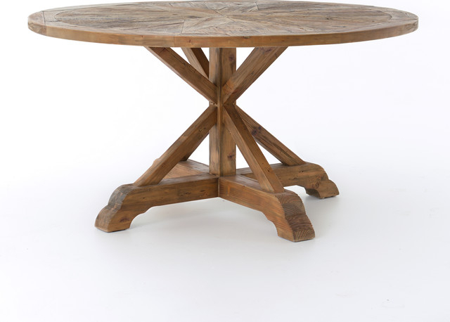 "Small Dining Tables With Rustic Pine Ash Brown Finish Inside Latest 59"" L Jane Round Dining Table Reclaimed Bleached Pine Waxed Finish Solid Wood (View 6 of 20)"