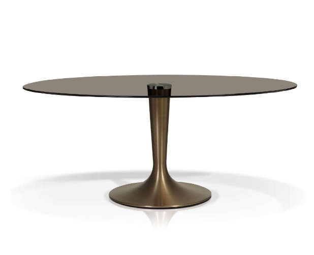 Smoked Oval Glasstop Dining Tables Regarding Most Current Smoked Oval Glasstop Dining Table (View 1 of 20)