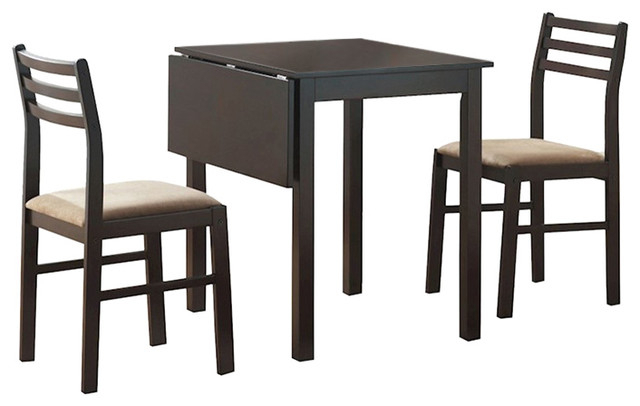 Popular Photo of Transitional 3 Piece Drop Leaf Casual Dining Tables Set
