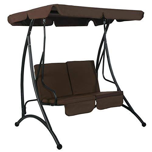 Sretan 2 Person Canopy Swing Chair Brown Black Polyester Within 2 Person Black Steel Outdoor Swings (#17 of 20)