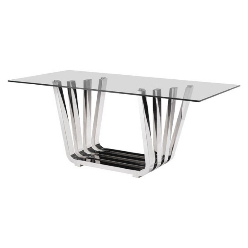 Steel And Glass Rectangle Dining Tables In Well Liked Details About Modern Rectangular Dining Table In Stainless Steel W/clear Tempered Glass (View 10 of 20)