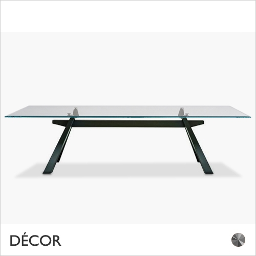 Steel And Glass Rectangle Dining Tables With Regard To Current Zeus Dining Table Featuring A Metal, Graphite Lacquered Steel Base And An Extra Clear Glass Rectangular Top 3 Sizes: 2000mm X 1000mm, 2500mm X 1000mm (View 14 of 20)