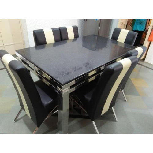 Steel And Glass Rectangle Dining Tables With Trendy Rectangular Stainless Steel Dining Table Set (View 3 of 20)