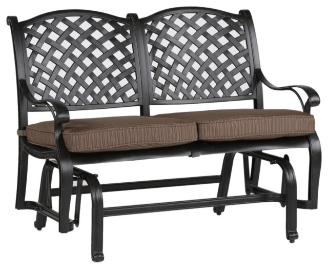 Stinson Bench Glider With Cushion, Outdoor Metal Glider In Aluminum Glider Benches With Cushion (View 2 of 20)