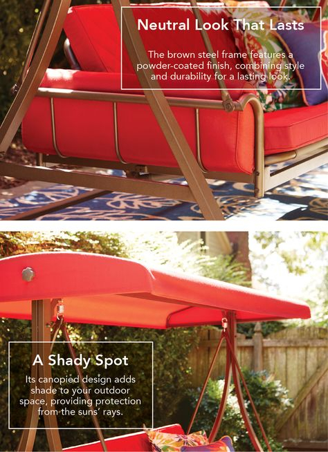 Style Selections 3 Person Red With Brown Powder Coated Frame Throughout 3 Person Red With Brown Powder Coated Frame Steel Outdoor Swings (View 19 of 20)