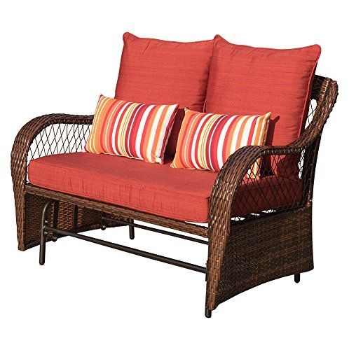 Sundale Outdoor 2 Person Wicker Loveseat Glider Bench Chair Regarding 2 Person Loveseat Chair Patio Porch Swings With Rocker (View 2 of 20)