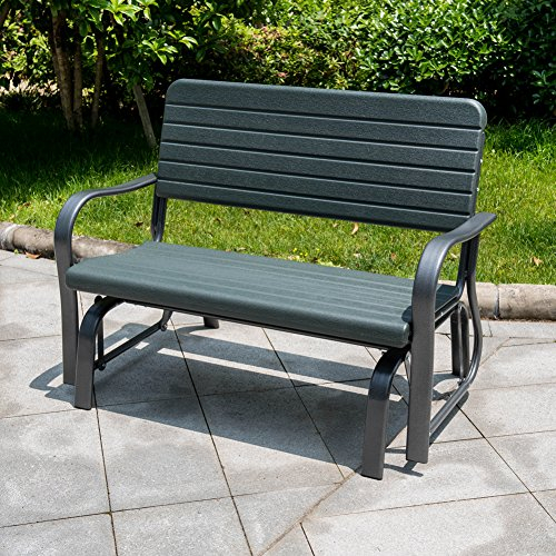 Sundale Outdoor Deluxe 2 Person Loveseat Glider Bench Chair Inside 2 Person Loveseat Chair Patio Porch Swings With Rocker (View 7 of 20)
