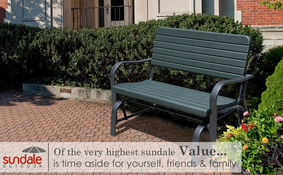 Sundale Outdoor Deluxe 2 Person #loveseat Glider Bench Throughout 2 Person Loveseat Chair Patio Porch Swings With Rocker (View 6 of 20)