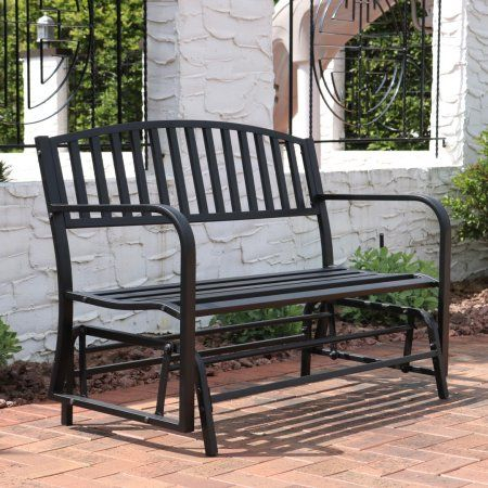 Sunnydaze Outdoor Garden Bench 50 Inch, Metal Glider Patio Intended For Outdoor Steel Patio Swing Glider Benches (View 19 of 20)