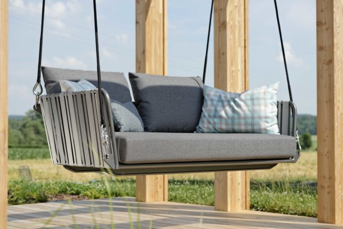 Swing 2Er Space Aluminium Anthracite With Belt Dark Grey/light Grey & Cushion Colour Silk Grey In 2 Person Light Teak Oil Wood Outdoor Swings (View 6 of 20)