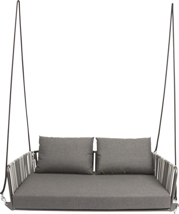 Swing 2Er Space Aluminium Anthracite With Belt Dark Grey/light Grey & Cushion Colour Silk Grey With Regard To 2 Person Light Teak Oil Wood Outdoor Swings (View 7 of 20)