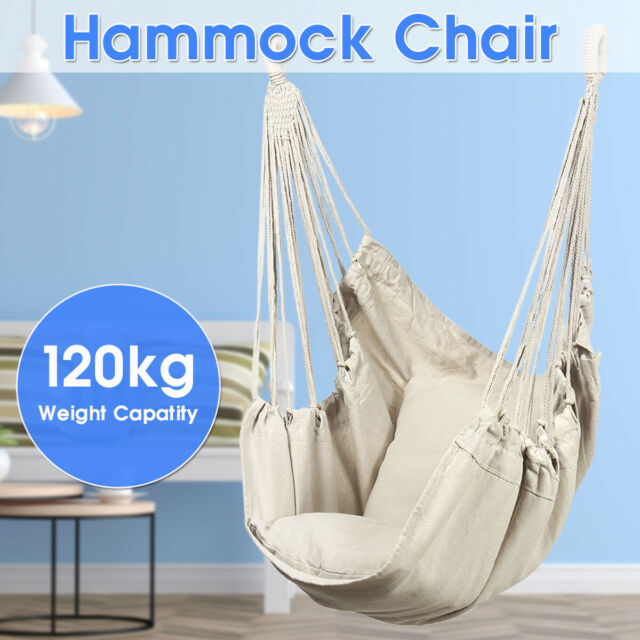 Swing Chair Canvas Hammock Hanging Seat Rope Porch Patio Garden Indoor Outdoor For Lamp Outdoor Porch Swings (View 13 of 20)