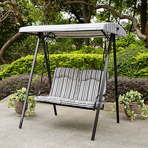Swing Porch Swing Yard Swing 2 Person Canopy 4 Legged Black With Regard To 2 Person Black Steel Outdoor Swings (#20 of 20)