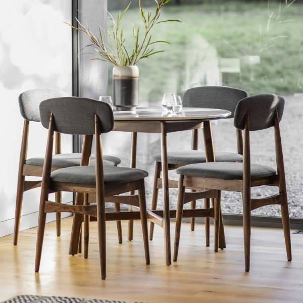 Sybil Round Dining Table, White Marble Top, Brown Throughout Latest Dining Tables With White Marble Top (#18 of 20)