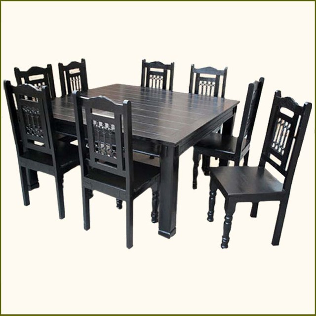 Table Chairs: Solid Wood Table And Chairs Throughout Most Popular Transitional 8 Seating Rectangular Helsinki Dining Tables (#14 of 21)