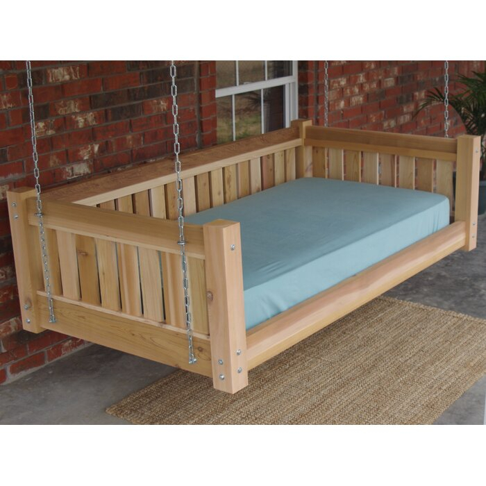 Teague Cedar Victorian Style Hanging Daybed Swing In Country Style Hanging Daybed Swings (View 5 of 20)