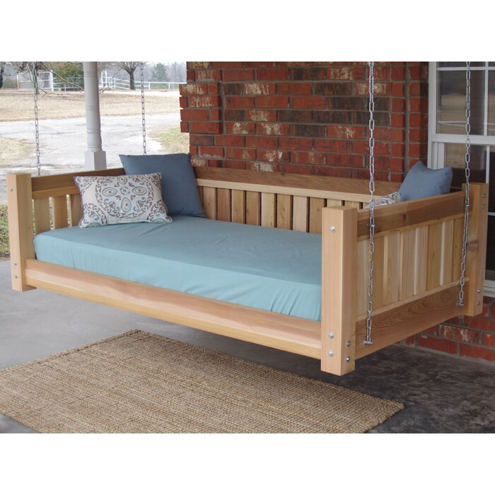 Teague Cedar Victorian Style Hanging Daybed Swing Intended For Country Style Hanging Daybed Swings (View 9 of 20)