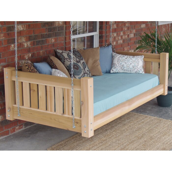 Teague Cedar Victorian Style Hanging Daybed Swing With Regard To Country Style Hanging Daybed Swings (View 7 of 20)