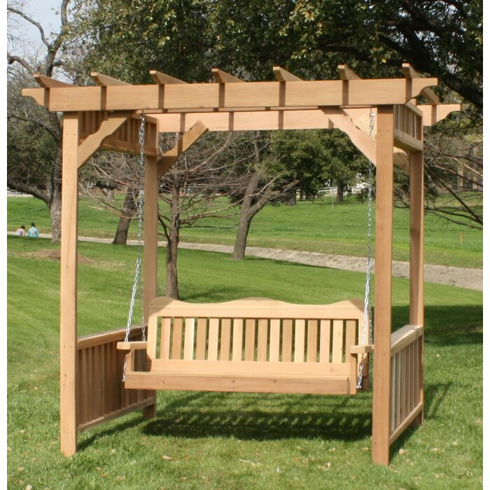 Thayer Cedar Arbor Porch Swing With Stand In Pergola Porch Swings With Stand (#15 of 20)