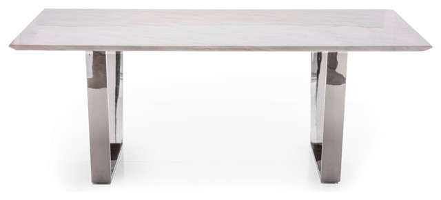 Thick White Marble Slab Dining Tables With Weathered Grey Finish Intended For Fashionable Versailles White Marble Dining Table (#15 of 20)