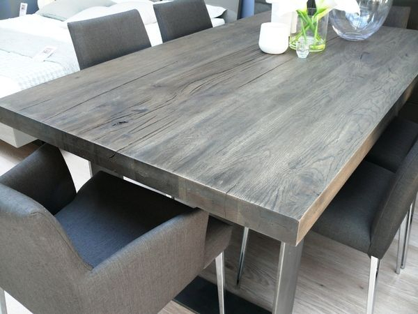 Thick White Marble Slab Dining Tables With Weathered Grey Finish Throughout Newest Pin Von Dayle Myers Auf Home (#16 of 20)
