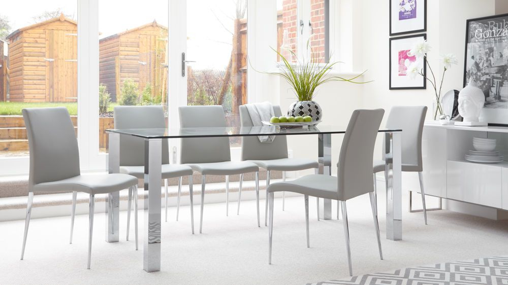 Tiva 6 To 8 Seater Large Glass And Chrome Dining Table Pertaining To Most Recently Released Contemporary 4 Seating Oblong Dining Tables (#18 of 20)