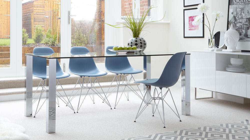 Tiva Glass And Eames Moulded Wire Frame 6 Seater Dining Set Inside Fashionable Eames Style Dining Tables With Chromed Leg And Tempered Glass Top (#17 of 20)