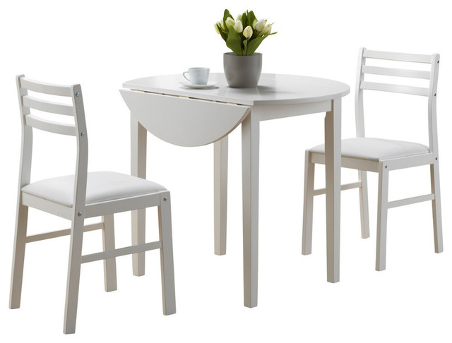 "Transitional 3 Piece Drop Leaf Casual Dining Tables Set Pertaining To Most Up To Date Monarch 3 Piece Dining Set With 36"" Diameter Drop Leaf Table In White (View 13 of 20)"