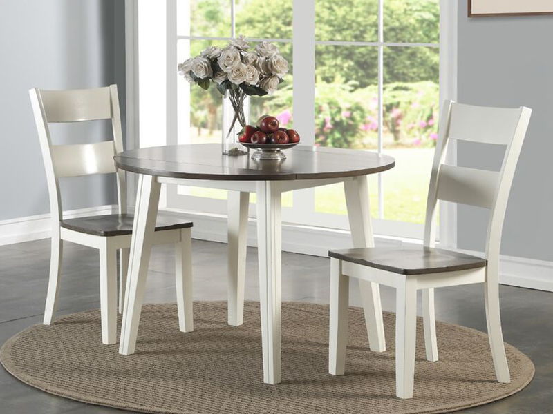 Transitional 3 Piece Drop Leaf Casual Dining Tables Set With Regard To Well Known Charles White/grey Drop Leaf Collectionholland House (View 17 of 20)