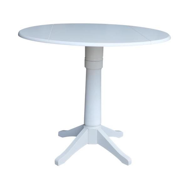 Transitional 4 Seating Drop Leaf Casual Dining Tables Regarding Best And Newest International Concepts Olivia White 42 In (#17 of 20)