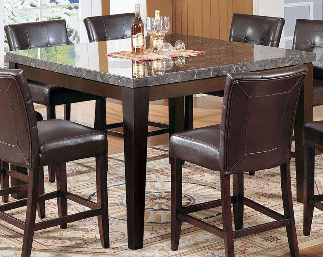 Transitional Antique Walnut Square Casual Dining Tables Intended For Most Popular Acme Danville Marble Top Square Counter Height Dining Table (View 7 of 20)