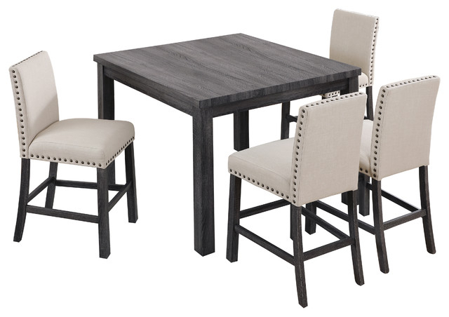 Transitional Antique Walnut Square Casual Dining Tables With Regard To Trendy Antique Gray/natural 5 Pieces Counter Height Set (View 4 of 20)