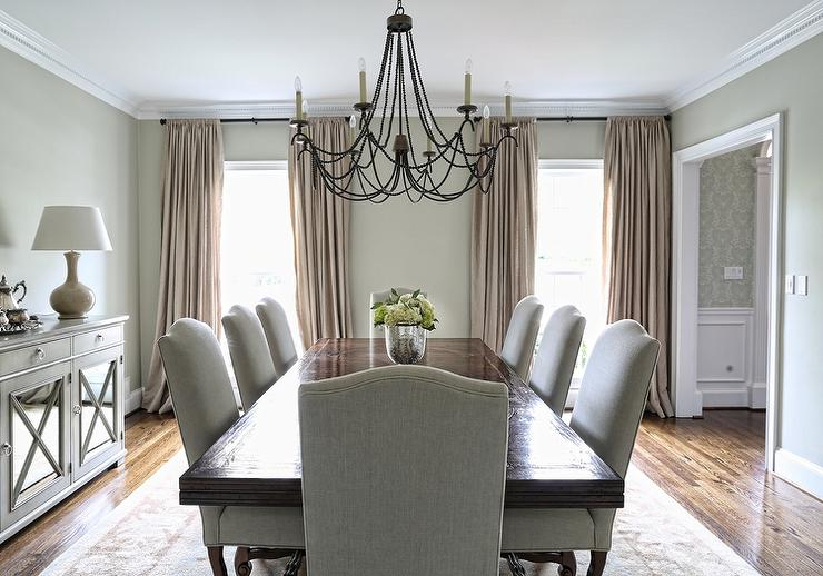 Transitional Rectangular Dining Tables Intended For Most Recently Released Rectangular Dining Table With Gray Linen Camelback Dining (View 20 of 20)