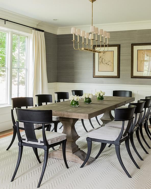 Transitional Rectangular Dining Tables With Regard To Most Up To Date Transitional Dining Room Features Upper Walls Clad In Gray (#19 of 20)