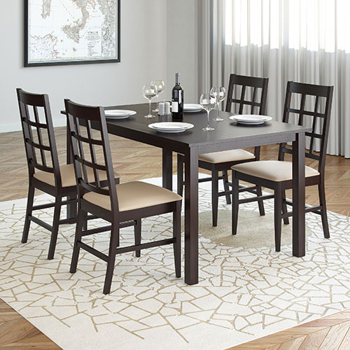 Transitional Rectangular Dining Tables With Well Liked 5 Piece Atwood Rectangle Dining Table & Chairs – Rich Cappuccino/grey Stone (#20 of 20)