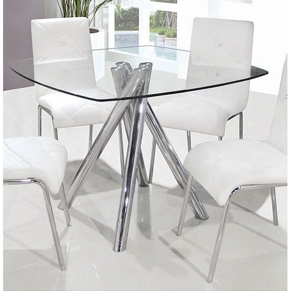 Trendy Best Master Furniture Square Glass Dining Table – Silver In Chrome Contemporary Square Casual Dining Tables (#16 of 20)