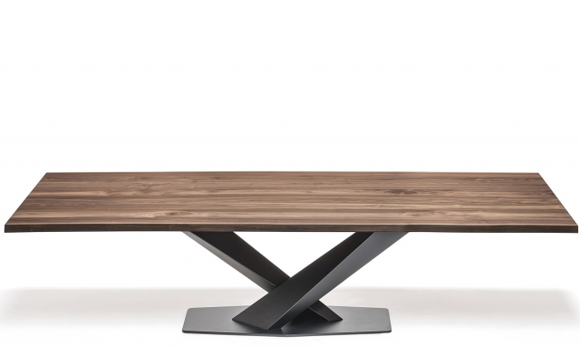Trendy Cattelan Italia Stratos Wood – Dining Table With Black Legs & Walnut Top In Dining Tables With Black U Legs (View 18 of 20)