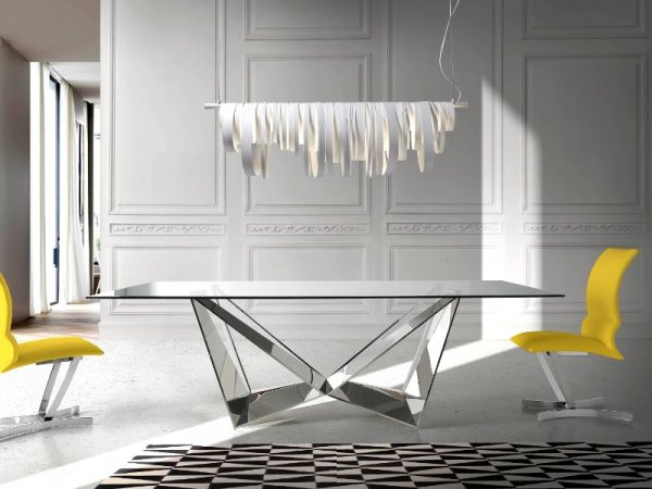 Trendy Contemporary Rectangular Dining Tables Regarding Porto Lujo Modern Rectangular Glass Dining Table With (View 9 of 20)