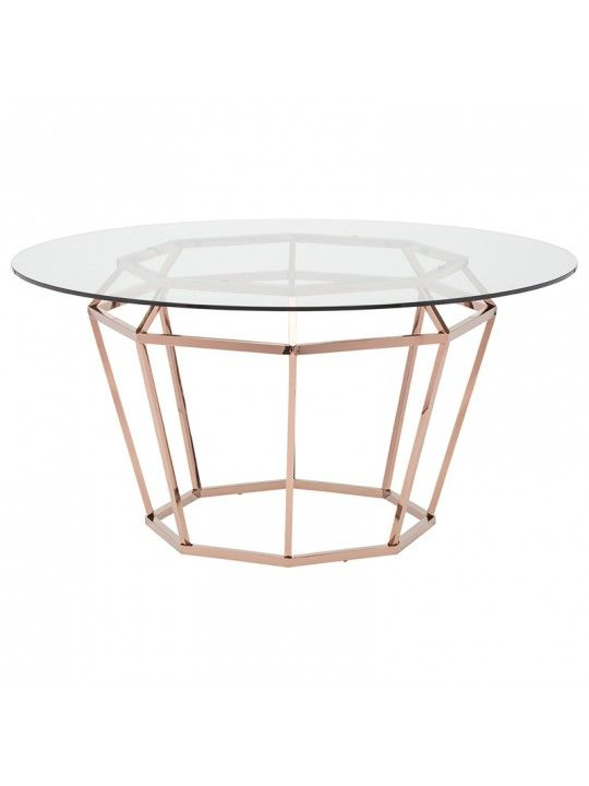 """Trendy Diamond 71"""" Dining Table In Clear And Rose Goldnuevo For Modern Gold Dining Tables With Clear Glass (#19 of 21)"""