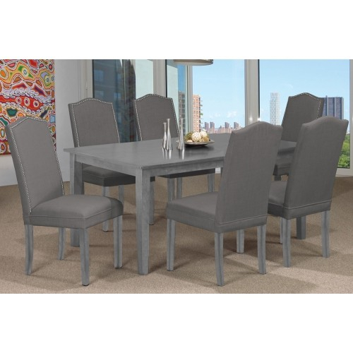 Popular Photo of Distressed Grey Finish Wood Classic Design Dining Tables