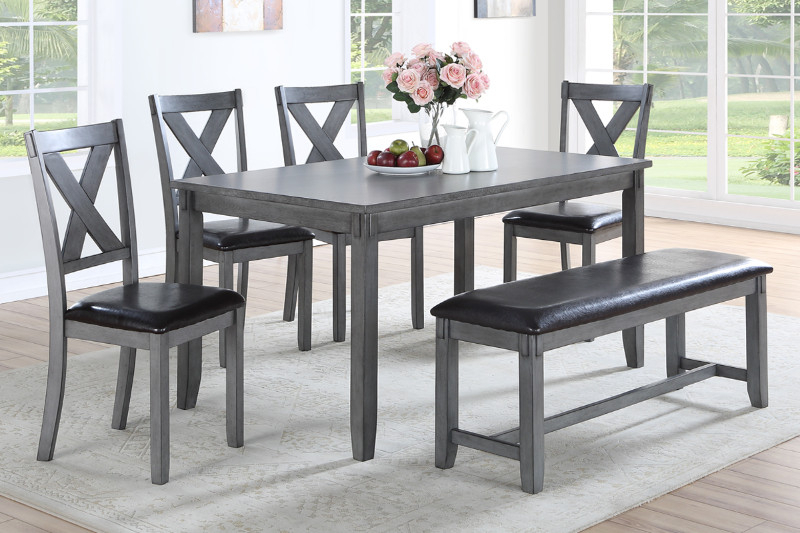 Trendy Grey Wood Dining Set Motivate Poundex F2548 6 Pc Laurel Regarding Contemporary 6 Seating Rectangular Dining Tables (#18 of 20)