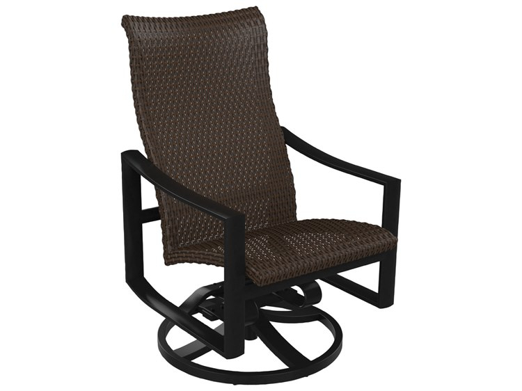 Inspiration about Tropitone Kenzo Woven High Back Swivel Rocker Dining Arm Chair In Woven High Back Swivel Chairs (#4 of 20)