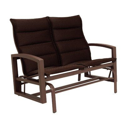 Tropitone Lakeside Padded Sling Double Glider Cushion Color Throughout Padded Sling Double Glider Benches (View 3 of 20)